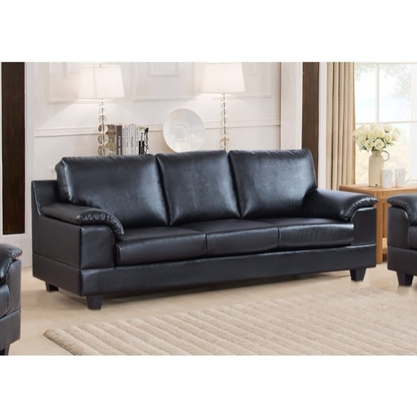 Contemporary Style Pu Leather Sofa With Velvety Arm Rest
