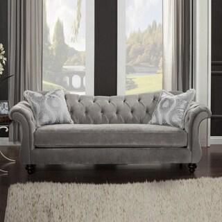 Premium Velvet Fabric Sofa With 2 Pillows, Gray