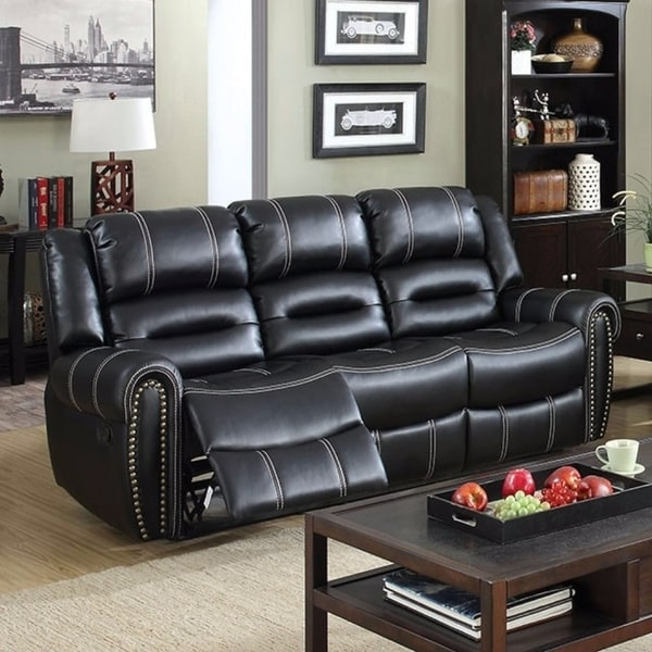 Shop Breathable Leatherette Recliner Sofa, Black