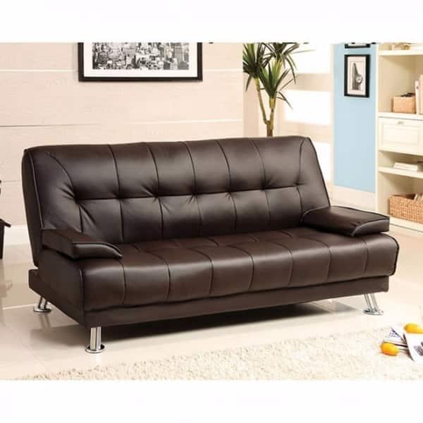 Leatherette Sofa Futon Brown