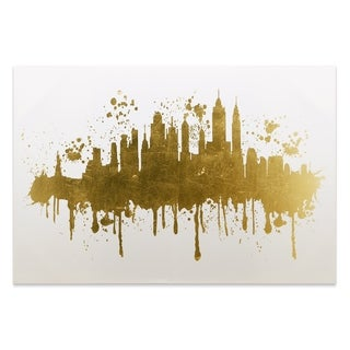 """""""NYC Skyline"""" Gallery Wrap Gold Stamped Canvas - Multi-color - 45 x 30"""