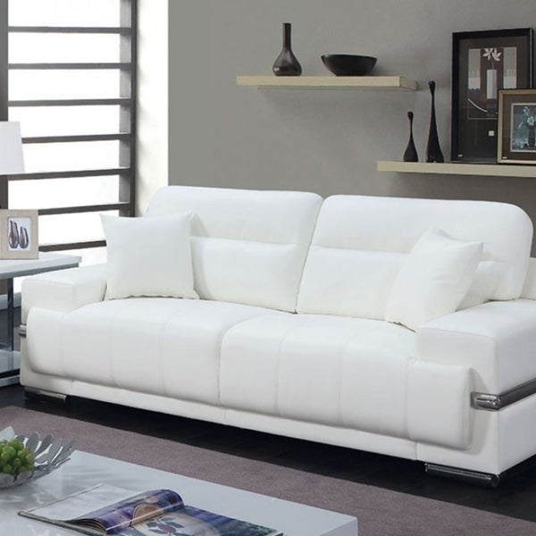 Shop Breathable Leatherette Sofa With Pillows White Free Shipping