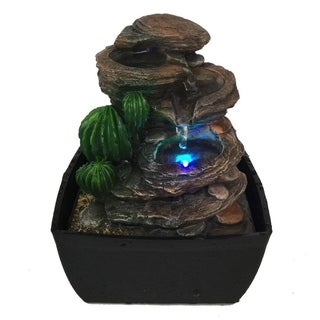 SereneLife 3-Tier Desktop Electric Water Fountain w/ LED - Indoor Outdoor Portable Tabletop Decor