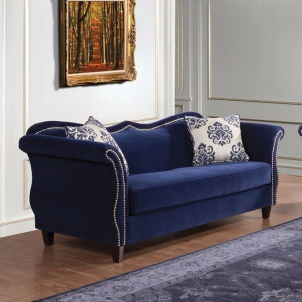 Nail Head Trim Premium Velvet Fabric Sofa With 2 Pillows, Blue