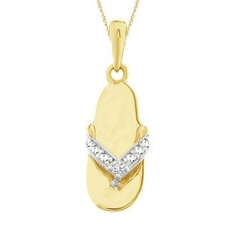 10K Yellow Gold 0 01 Cttw Round Diamond Accent Ladies Fashion Slipper Pendant W 18 Chain Necklace