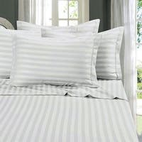 Just Linen Hotel Collection, 300 Thread Count 100% Cotton Sateen ,White Striped , King Size Pack Of 4 Flat Sheets