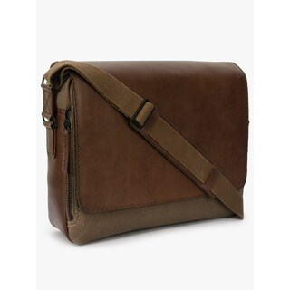 Hand Made Phive Rivers Men's Leather and Canvas Khaki Green Messenger Bags (Italy)