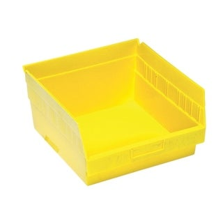 "Quantum Storage Systems Store More 6"" Yellow Shelf Bin - 11 - 5/8"" x 11 - 1/8"" x 6"" - 8 Pack"