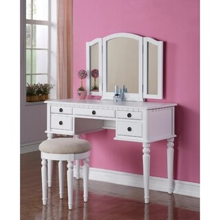 Wooden Vanity Set With Stool White