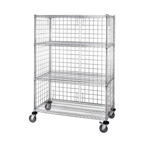"""Quantum 3 Sided 4 Shelf Cart with Enclosure Panels 24""""W X 48""""L X 69""""H"""