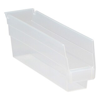 "Quantum QSB100CL Clear View Economy Shelf Bin 11.62"" x 2.75"" x 4"" - 36 Pack"