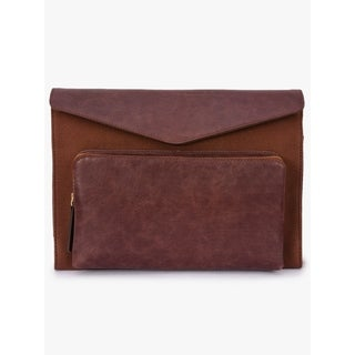 Handmade Phive Rivers Men's Leather and Canvas Brick Brown MacBook sleeves (Italy)