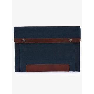Handmade Phive Rivers Men's Leather and Canvas Navy MacBook sleeves Handmade