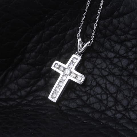 """1/4 cttw Round Natural Diamond Ladies Cross Pendant With w/18"""" Chain Necklace 10K White Gold"""