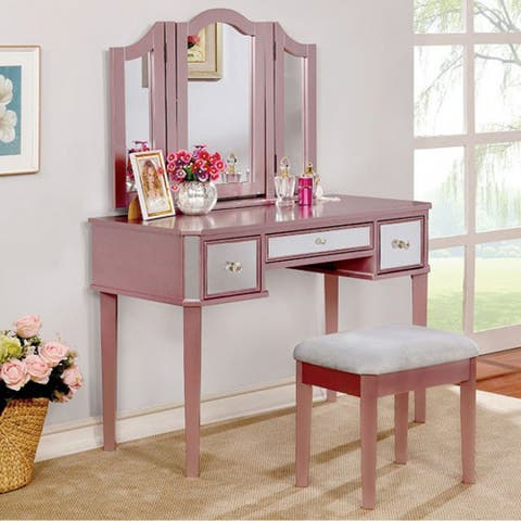 Clarisse Contemporary Vanity With Stool, Rose Gold