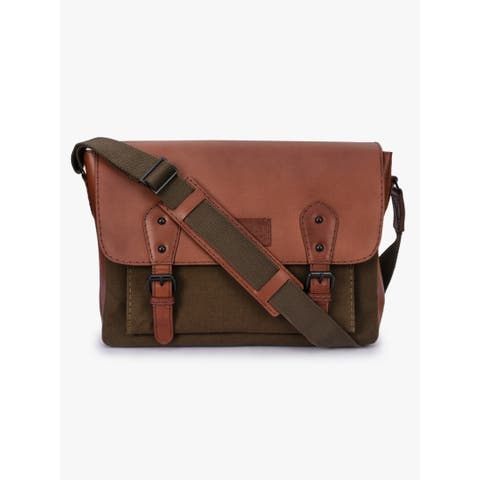 842bacc7b Handmade Phive Rivers Men's Leather and Canvas Green Messenger Bags (Italy)