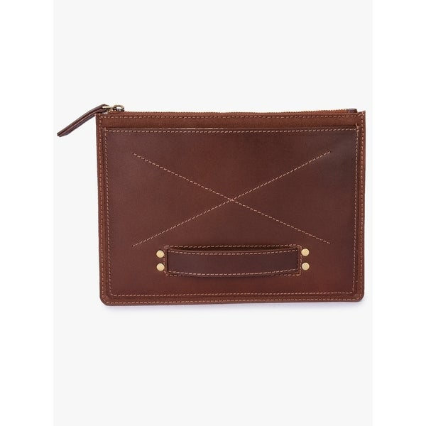 Handmade Phive Rivers Men's Leather and Canvas Brick Brown iPad sleeves (Italy)