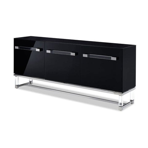 Whiteline Contemporary Modern BriannaHigh Gloss Black or White Buffet TV Stand Entertainment Cabinet