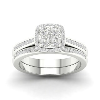 De Couer S925 Sterling Silver 1/4 ct TDW Diamond Halo Birdal Ring (More options available)