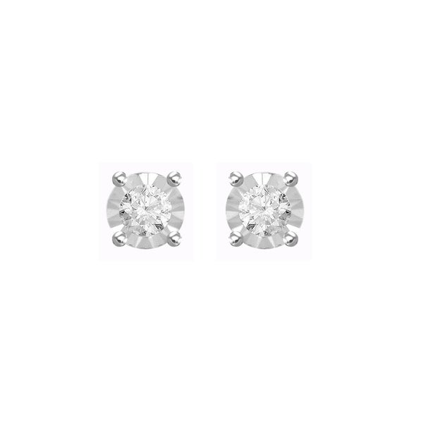 c5832752b 1/10 cttw Round Natural Diamond Ladies Solitaire Stud Earrings With Screw  Back in 925