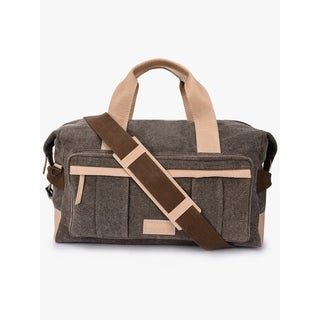 Handmade Phive Rivers Men's Leather and Canvas Light Green Duffle Bags (Italy)