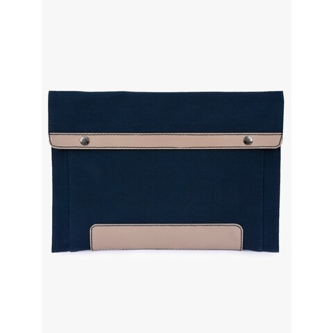 Handmade Phive Rivers Men's Leather and Canvas Blue MacBook sleeves (Italy)