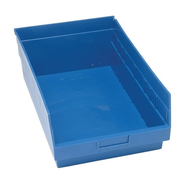 "Quantum Storage Systems Store More 6"" Blue Shelf Bin - 17 - 7/8"" x 11 - 1/8"" x 6"" - 8 Pack"