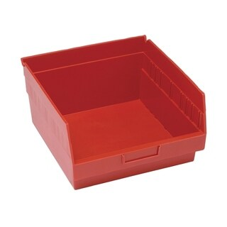 "Quantum Storage Systems Store More 6"" Red Shelf Bin - 11 - 5/8"" x 11 - 1/8"" x 6"" - 8 Pack"
