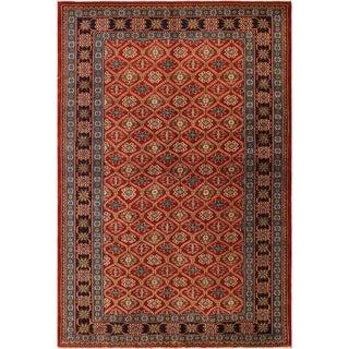 Sherwan Robert Red/Blue Wool Rug (4'6 x 6'7) - 4 ft. 6 in. x 6 ft. 7 in.