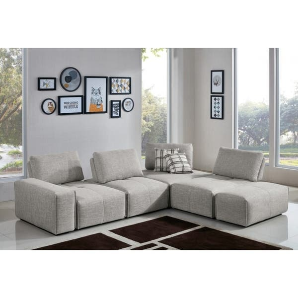 Wondrous Divani Casa Platte Grey Modular Sectional Sofa Ncnpc Chair Design For Home Ncnpcorg