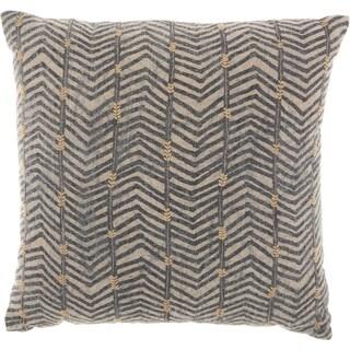 Studio NYC Design Arrow Embroidery Linen Grey Throw Pillow
