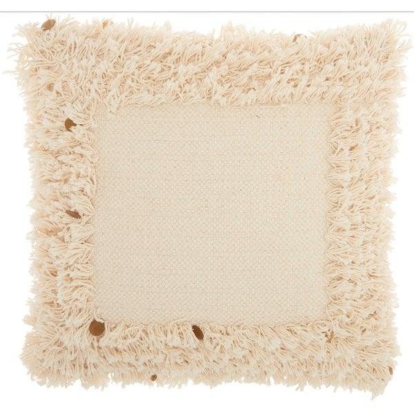 Studio NYC Design Border Sequin Fringe Ivory Throw Pillow (18-Inch X 18-Inch)
