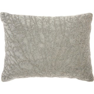 Studio NYC Design Beaded Coral Velvet Fossil Grey Throw Pillow (12-Inch X 16-Inch)