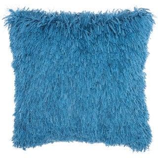 Studio NYC Design Soft Ribbon Shag Mineral Blue Throw Pillow (18-Inch X 18-Inch)