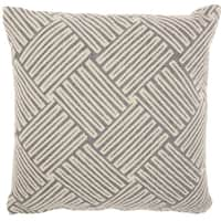 Studio NYC Design Basketweave Fossil Grey Throw Pillow (20-Inch X 20-Inch)