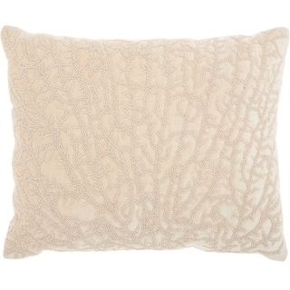 Studio NYC Design Beaded Coral Velvet Natural Throw Pillow (12-Inch X 16-Inch)