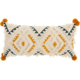 Studio NYC Design Diamond Embroidery Cream Multicolor Throw Pillow (12-Inch X 24-Inch)