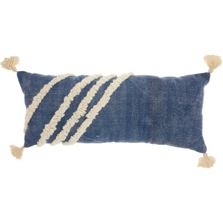 Studio NYC Design Diagonal Texture Blue Throw Pillow (13-Inch X 33-Inch)