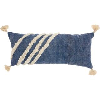 Studio NYC Design Diagonal Texture Blue Throw Pillow (13-Inch X 33-Inch)