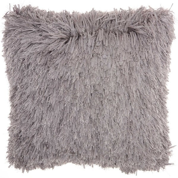 Studio NYC Design Soft Ribbon Shag Fossil Grey Throw Pillow (18-Inch X 18-Inch)