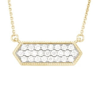 """""""Pave Hexagon"""" necklace with 25 rd br dias .50 ct tw in 14karat gold"""