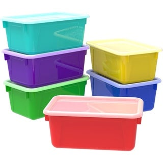 Storex Small Cubby Bins + Covers /Assorted Colors (5 units/pack)