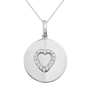 Sterling Silver 1/10 cttw Round White Diamond Circle/Heart Pendant Necklace