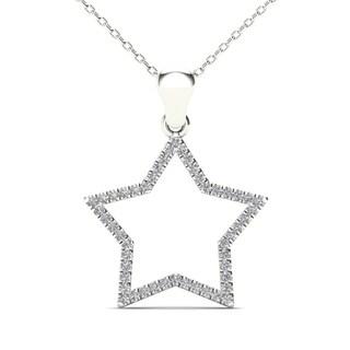 AALILLY 10k White Gold 1/10ct TDW Diamond Open Star Pendant Necklace (H-I, I1-I2)
