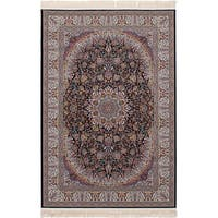 eCarpetGallery Persian Collection Qom Blue Power-loomed Area Rug - 6' x 9'