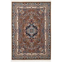 eCarpetGallery Persian Collection Isfahan Power-loomed Brown/Red/Navy Rug - 6' x 9'