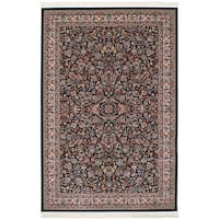 eCarpetGallery Persian Robot Woven Collection Kashan Power-loomed Dark Navy/Multicolored Rug - 6' x 9'