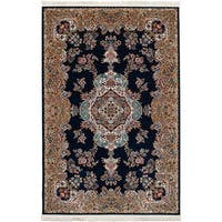 eCarpetGallery Persian Robot Woven Collection Tabriz Power-loomed Dark Navy/Multicolored Indoor Rectangular Rug (6'7 x 9'10)