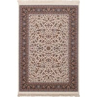 eCarpetGallery Persian Robot Woven Collection Mashad Power-loomed Ivory/Multicolored Rug - 6' x 9'