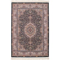 eCarpetGallery Persian Collection Qom Blue Power-loomed Rug - 6' x 9'